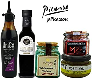 GIFT BASKET-IMPORTED FROM SPAIN- GOURMET FOOD-5 PREMIUM ARTISAN PRODUCTS-XTRA VIRGIN OLIVE OIL- PX BALSAMIC CREAM-GREEN OLIVE Pâté-SMOKED SPICY PAPRIKA-GOURMET CITRIC SALT. CHEF OLE PICASSO BOX.