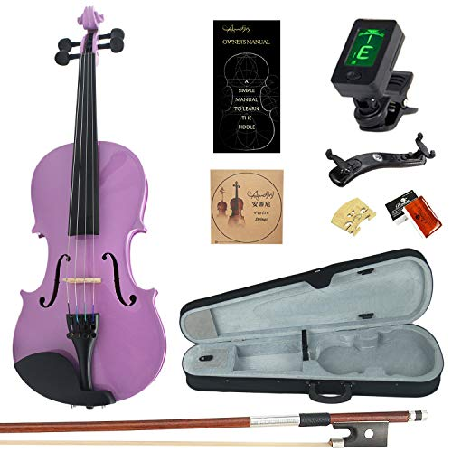 Amdini 1/2 AC100 Solid Wood Violin with Tuner, Manual, Case, Bow, Shoulder Rest and Extra Bridge & Strings (Purple)
