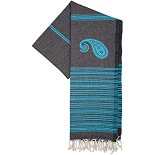 Hammam Beach Towel xl BIARRITZ 100x190 cm Black Turquoise - Lightweight Turkish Beach Towel Fouta 100% Soft Cotton - Unique Towels Design ZusenZomer