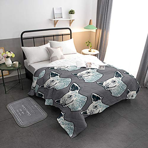 Advancey Reversible Lightweight Bedspread Coverlet Cartoon Dog Super Soft Washable Microfiber Quilts for All Season, 64x88 inch