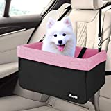 JESPET Dog Booster Seats for Cars, Portable Dog Car Seat Travel Carrier with Seat Belt for 24lbs Pets (Pink-16 L x 13' D x 9' H)