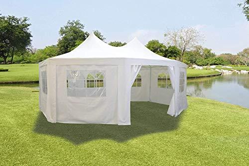 Lifetime Garden Zeer mooie grote tuin partytent achthoekig 6 x 4,4 x 3,5 meter wit