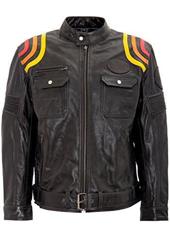 King Kerosin Herren Lederjacke Mit Kontrastfarbigen Racer Streifen Langarm Lederjacke Regular Fit Vintage Manschette