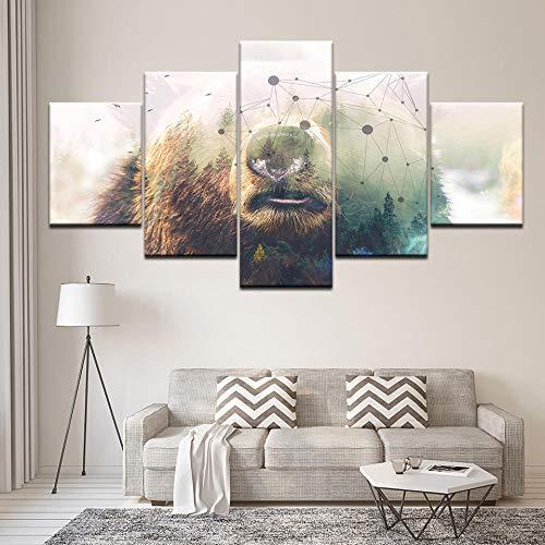 Canvas schilderij de abstracte kop van de beer 5 stuks Wall Art schilderij wallpapers poster print voor woonkamer Home Decor ; 40x60 40x80 40x100cm geen frame
