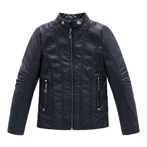LJYH Boy's Collar Faux Motorcycle Leather Jackets Kids Spring Biker Coats Black 5/6yrs