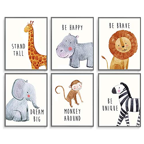 Nursery Decor, Nursery Wall Decor, Baby Room Decor, Nursery Decor for Boys, Jungle Nursery Decor, Baby Nursery Decor, Boy Decorations for Room, Baby Nursery Wall Decor, Safari Decor, Set of 6 8x10in.…