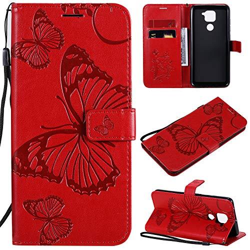 SMYTU Funda Xiaomi Redmi Note 9, Rojo Cuero PU Retro y Cubierta...
