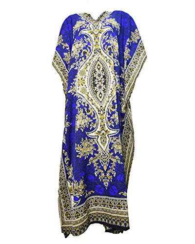 Dames koele lange Kaftans/Bloemen gedrukt lange koele kaftan/Dames jurk lange kaftan/Maxi jurk, lange kaftan/nacht/strand en zomer vakantie jurk (BLUE)