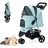 Wangmao Pet Stroller for Cats Dogs, 3 Wheel Dog Foldable No Zipper Puppy Stroller for Small-Medium Dog Cat