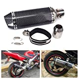 Universal Carbon Fiber Painted 1.5-2'Inlet Exhaust Muffler with Removable DB Killer for Street/Sport Motorcycles and Scooters with 38-51mm Diameter Exhaust Pipes