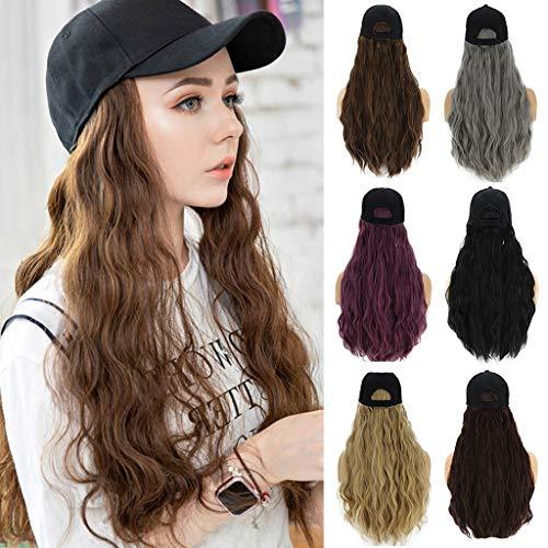 AMUSTER Damen Perücken Lange Lockige Perücke Kappe lange Haare Baseballmütze Ball Caps Lässig Hut mit Perücke (55cm, Grau)