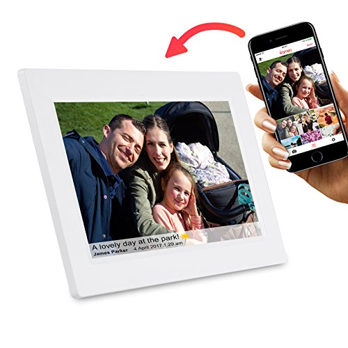 Feelcare 10 Inch Smart WiFi Digital Photo Frame with Touch Screen, Send Photos or Small Videos from Anywhere, IPS LCD Panel, Built in 8GB Memory, Wall-Mountable, Portrait&Landscape(White)