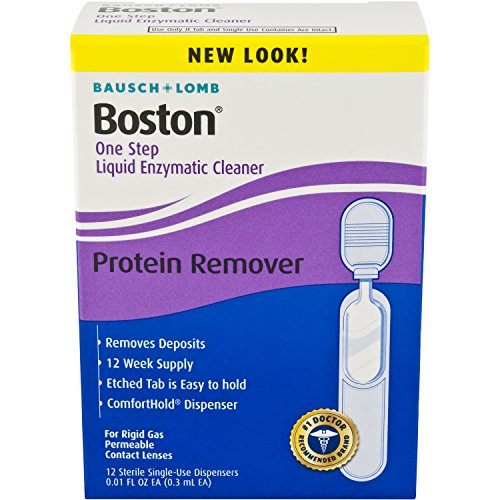 Bausch & Lomb Boston One Step Liquid Enzymatic Cleaner, Protein Remover, 0.01 Fl Oz ( 1 box of 12 Dispensers)
