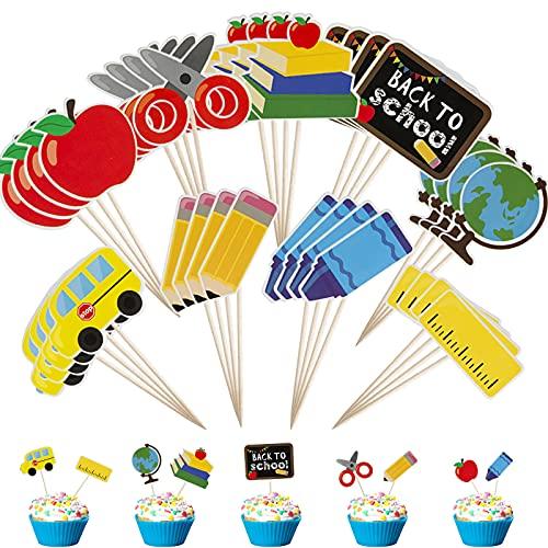 Comius Sharp Cake Toppers Sticks, 36 Piezas de Decoración para Cupcakes de Regreso a la Escuela, Banderas para Palillos de Dientes, Decoración de Bienvenida Escolar para Fiestas Temáticas en el Aula