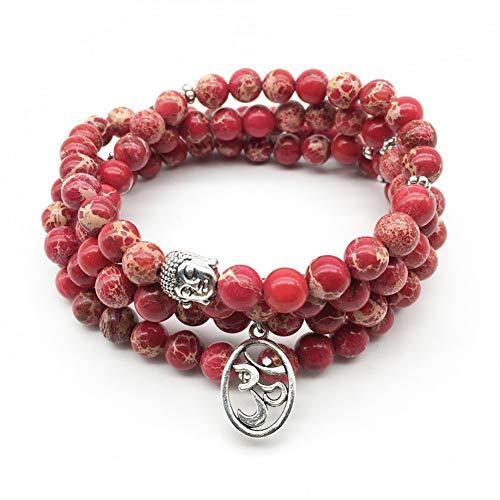 NASHUBIA Fashion Yoga Armband Dames Sieraden Trendy Natuurlijke Rood 108 Mala Armband