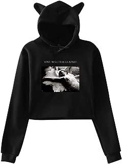 Cute Cat Ear Joy Division Love Will Tear Us Apart Women Girl Hoodies Long Sleeve Printed Pullover Sweatshirt Black