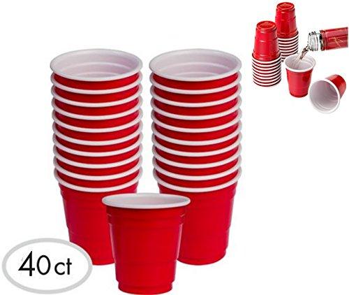 alazco rot CUP Mini Party Schnapsgläser Set wählen Größen, plastik, rot, 40pc - Red