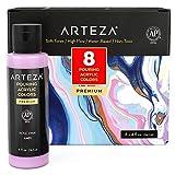 Arteza Acrylic Pouring Paint Set, 8 Pastel Colors, 4 oz Bottles, High-Flow Paint, No Mixing Needed, Art Supplies for Canvas, Glass, Paper, Wood, Tile, and Stones