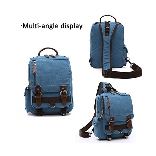 51wYTVnMCrL. SS600  - FANDARE New Hombres Sling Bag Business Commuter Estudiante Gym Outdoor Viaje Bolso de Hombro Transpirable Lienzo Azul A