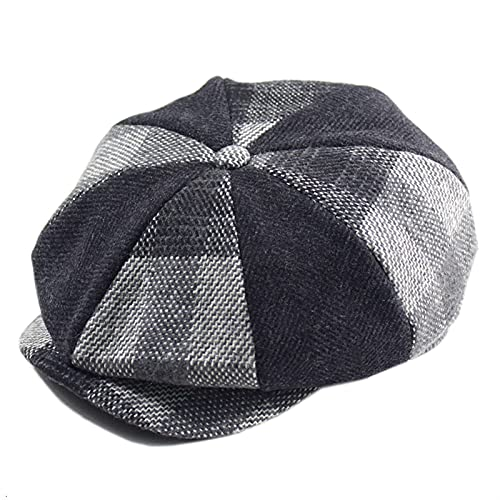 YISLWHUO Berets Man Large Size Ivy Hat Dad Fitted Painter Cap Men Felt Octagonal Hat (Color : Striped Gray, Hat Size : M 57-58cm)