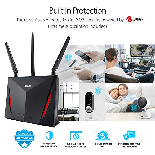 ASUS AC2900 WiFi Gaming Router (RT-AC86U) - Dual Band Gigabit Wireless Internet Router, WTFast Game...