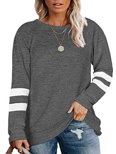 DOLNINE Women Plus Size Tops 4X Casual Oversized Sweater Shirts Dark Grey-28W