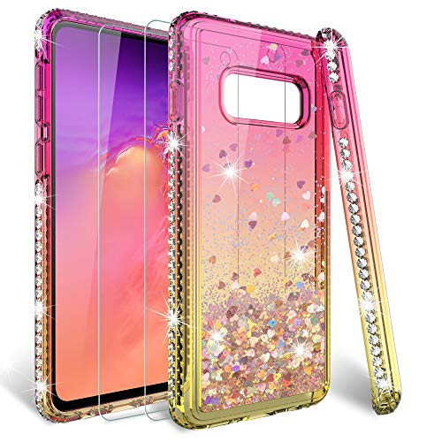 HATOSHI Galaxy S10e Glitter Case with Screen Protector Tempered Glass 2 Pack for Girls Women, Quicksand Sparkle Bling Diamond Clear Cute Protective Phone Case for Samsung Galaxy S10e Pink Gold