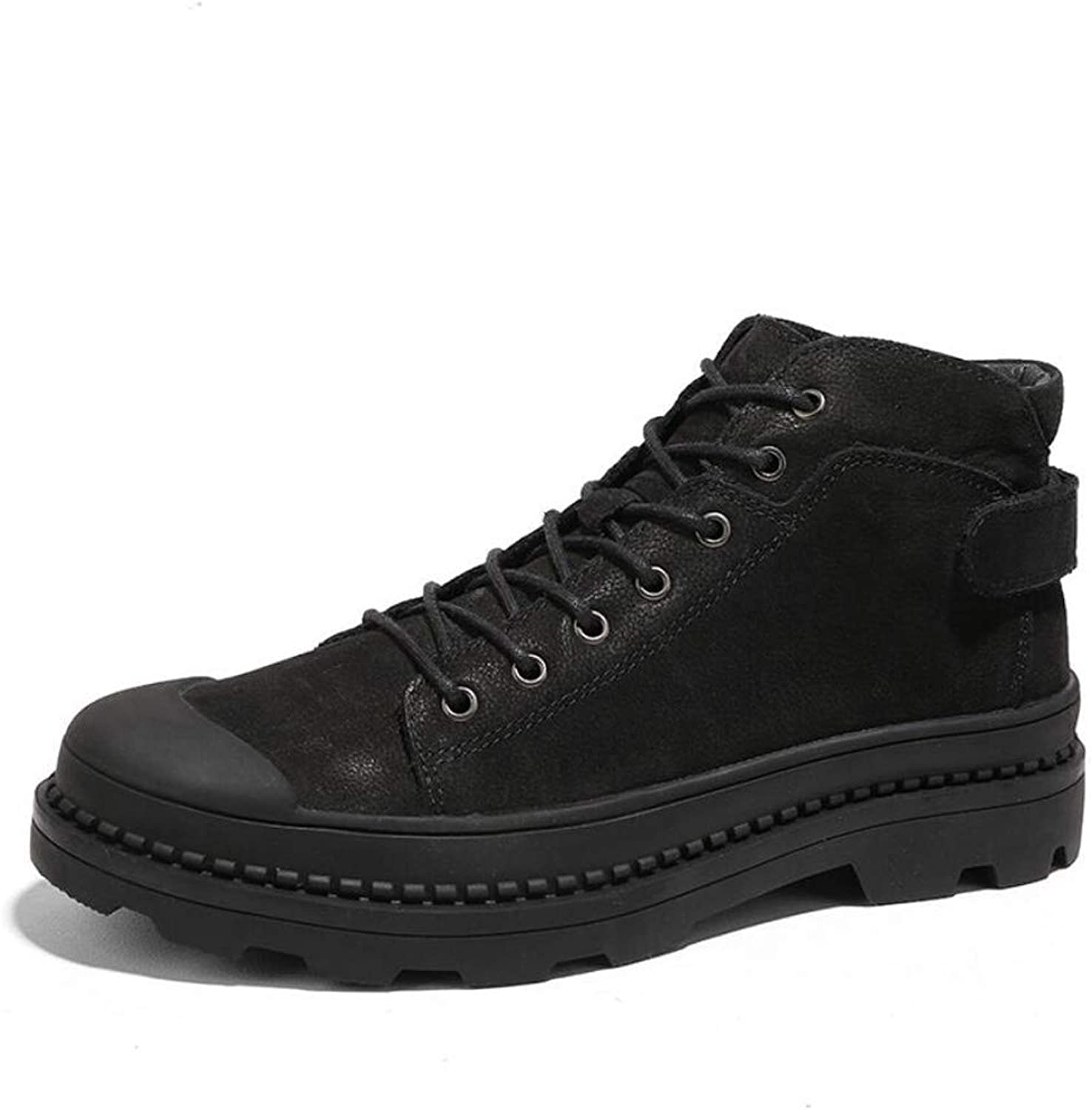 Men's Leather Boots Plus Velvet High to Help Large Size Boots Men's Leather Men's Boots Autumn and Winter British Wind Martin Boots