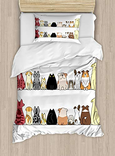 HUNKKY - Juego de funda de edredón para mascotas, diseño de gatos y perros, diseño de gatos y perros, color crema y negro