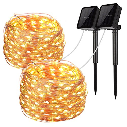 Solar String Lights, 2 Pack 100 LED Solar Fairy Lights 33 Feet 8...