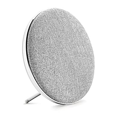 Jonter Fashion Bookshelf Bluetooth Speaker, Desktop Round Speaker with Fabric&Metal Surface, 10W Subwoofer, Built-in Mic Handsfree Phone Calling, TF Card Slot & AUX Cable(Silver)