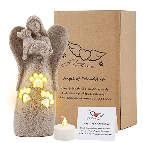 BEARAE Angel of Friendship Dog Memorial Gifts Candle Holder Pet Loss Candle Gifts Sculpted Hand-Painted Figure Sympathy Angel Gift Dog Angel Figurines Decor for Grieving Pet Dog Owners