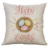 LEEDY Cojin Fundas Easter Linen Square Rabbit Throw Pillow Case Cintura Cojín Cubierta Decoración para el hogar Cushion Cover 40x40cm