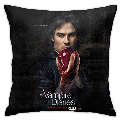 Tvd Damon Salvatore Pillow Case Throw for Sofa Vampire Diaries Merchandise Couch Bed Covers Velvet Soft Orange Pillow Covers Square Cushion Case 18 X 18 in
