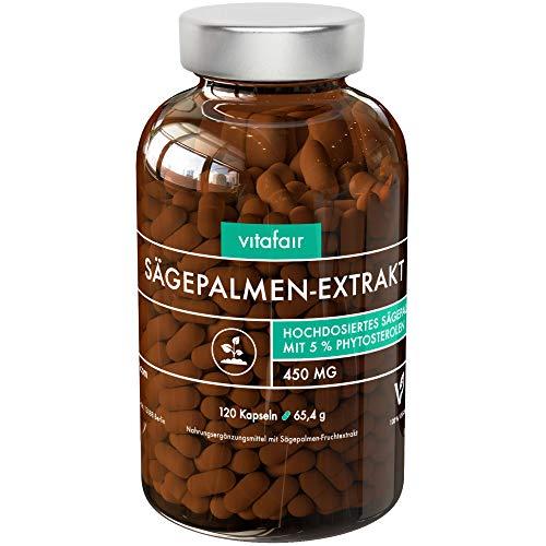 Sägepalmenextrakt - 450mg pro Tagesdosis - 120 Kapseln - 5% Phytosterole = 22,5mg - Hochdosiertes Sägepalmextrakt - Vegan - Ohne Magnesiumstearat - German Quality