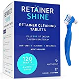 Retainer Cleaning Tablets – 120 Tablets & 2-in-1 Cleaning Brush – 4 Month