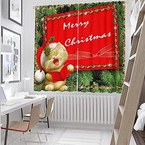 Toopeek Christmas Wear-Resistant Color Curtain Snowman with hat in The Garden with Gift Box and Lantern Image Waterproof Fabric W42 x L63 Inch