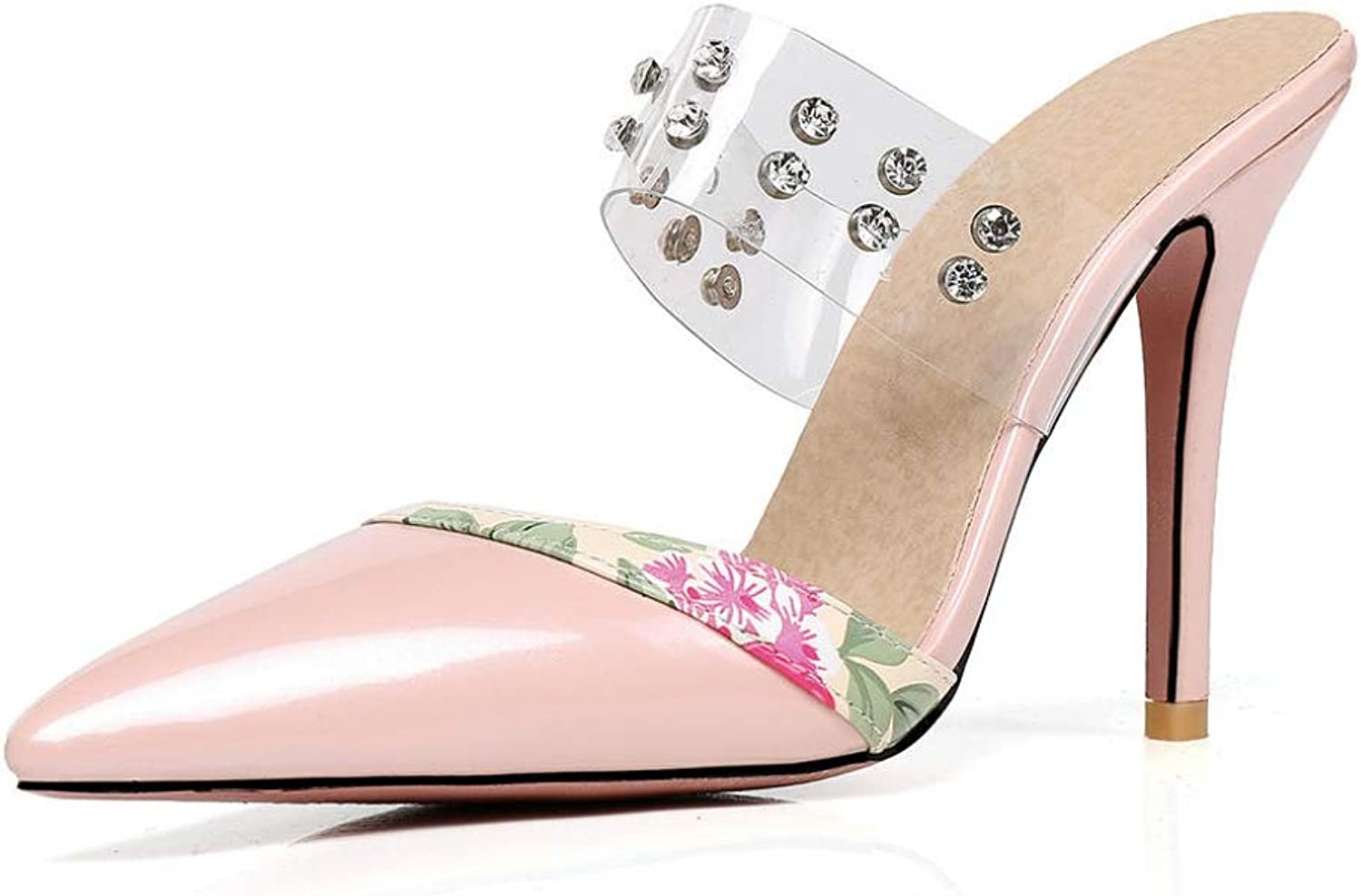 T-JULY Mules for Women Solid Pointed Toe Thin High Heels Metal Decoration Crystal shoes Ladies Casual Summer Pumps