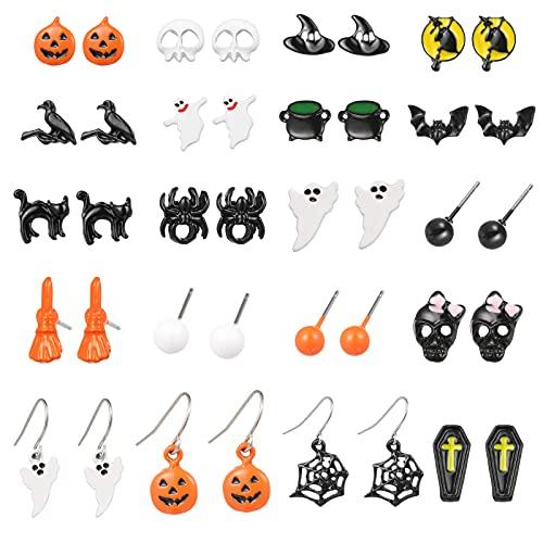 20 Pairs Halloween Earrings for Women Halloween Theme Stud Earring Sets Pumpkin Earrings Bat Ghost Spider Halloween Stud Earrings for...
