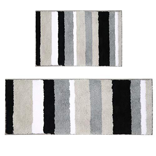 Pauwer Microfibra Bagno tappetini Antiscivolo Lavabile Tappeto Bagno, Microfibra, Nero, 45 * 65cm+45 * 120cm