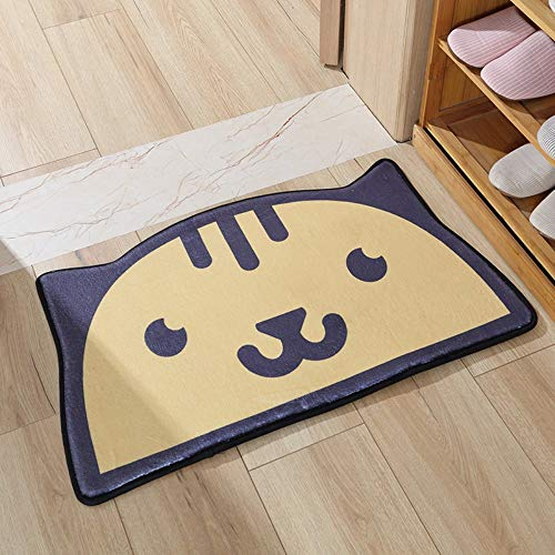 WENJIA Katze Halbmond Kawaii Design Fußmatte Innenbereich Außenbereich Bodenmatte rutschfest Saugfähige Badtür Matte Maschinenwaschbar Teppich Teppiche-50 * 80 cm