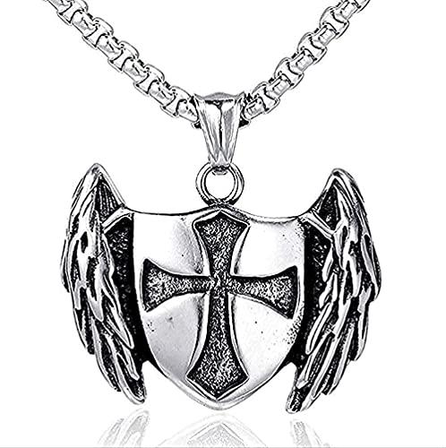LKLFC Collar de ala de Metal Collar Cruz Caballero clásico Colgante de Moda Collar Hombres Regalos