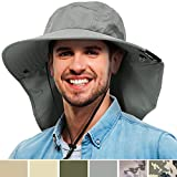 Mens Wide Brim Sun Hat with Neck Flap Fishing Safari Cap for Outdoor Hiking Camping Gardening Lawn Field Work, Grey