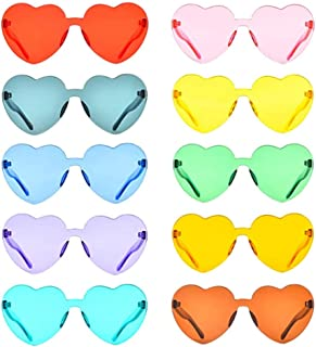 JKOWANS Heart Shaped Love Rimless Sunglasses One Piece Transparent Candy Color Frameless Glasses Tinted Eyewear (10 Pairs Color)