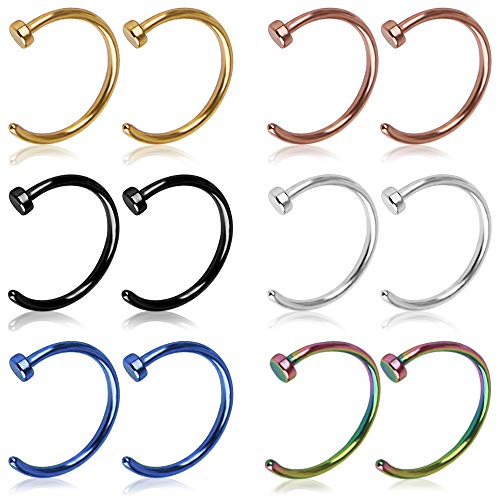 EVEJEW 12Pcs Nose Rings Hoop 20 Gauge 8mm Nose Piercing Hoop Stainless Steel Surgical Steel Body...