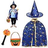 FORMIZON Capa De Mago De Sombrero, Disfraces De Halloween, Capa De Bruja con Bolsa De Caramelos, Infantil Capa, Juego De Roles Vestir para Unisex NiñOs NiñAs Disfraz De Cosplay Fiesta (Azul)