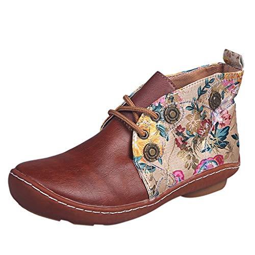Booties Frauen Retro Leder Flache Schnürung Blumendruck Kurze Runde Zehen Schuhe (41,Braun)
