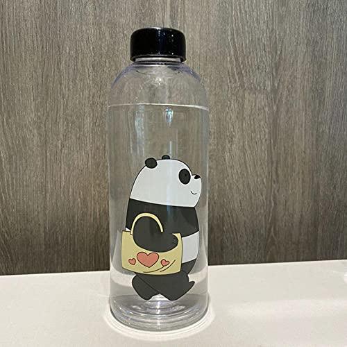 Botella de agua de plástico de oso lindo de 1000 ml Botella de gran capacidad a prueba de fugas para agua Taza de jugo transparente esmerilada Taza de agua-República Checa, 1.0L, TM Negro