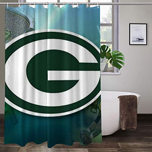 LAYENJOY Green Bay P-a-c-k-ers (18) Football Waterproof Curtain Bathroom Partition Shower Curtain Hooks Suitable for Shower Room Bedroom Bathtub(72x80 in)
