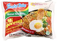 INCLUDES: 10 individually wrapped packets of Indomie Mi Goreng noodles CALORIES: 390 Calories per serving. Each serving is (1) individual packet ALLERGEN CALLOUTS: Preservatives, Sesame, Sesame Oil, Soy, Soybean, Wheat HALAL: 100% Halal certified COO...